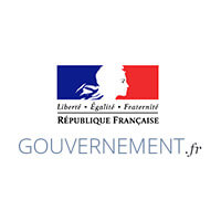French Gouvernement logo with Buddy the robot